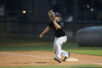 Concord A's first baseman Joe Tolone (31) (Emory & Henry) waits for a throw during the game against the Mooresville Spinners at Moor Park on July 31, 2020 in Mooresville, NC. The Spinners defeated the Athletics 6-3 in a game called after 6 innings due to rain. (Brian Westerholt/Four Seam Images)
