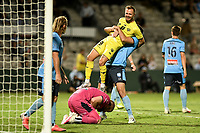 8th February 2021; Jubilee Stadium, Sydney, New South Wales, Australia; A League Football, Sydney Football Club versus Wellington Phoenix; David Ball of Wellington Phoenix is lifted off the ground by Ryan McGowan of Sydney during a ticht play in the box