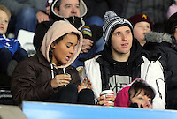 Pictured: Aaron Lewis (R) amongst Swansea supporters Tuesday 28 February 2017<br /> Re: Premier League International Cup, Swansea City U23 v Hertha Berlin II at at the Liberty Stadium, Swansea, UK