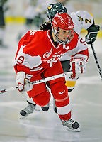 9 February 2008: Boston University Terriers' forward and co-captain Gina Kearns, a Junior from Norwood, PA, in action against the University of Vermont Catamounts at Gutterson Fieldhouse in Burlington, Vermont. The Terriers shut out the Catamounts 2-0 in the Hockey East matchup...Mandatory Photo Credit: Ed Wolfstein Photo