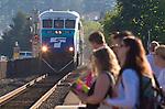 Edmonds, Sounder Commuter train, Edmonds station, morning commuters bound for Seattle, Seattle suburb, Washington State, Pacific Northwest, USA,.