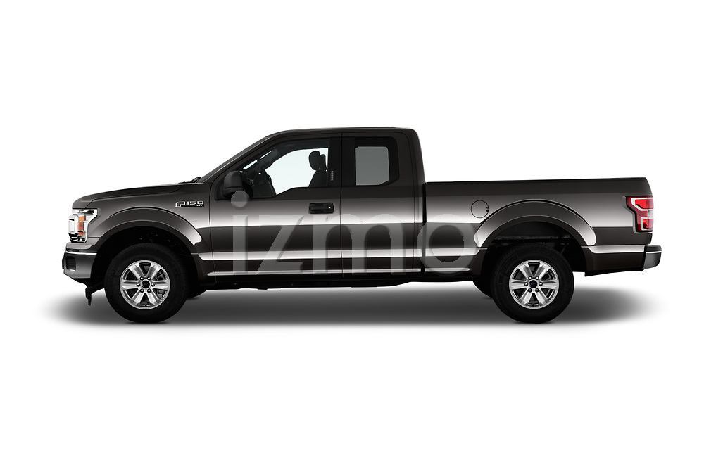 Car driver side profile view of a 2018 Ford F-150 XLT SuperCab 6-1/2 Box 2 Door Pick Up