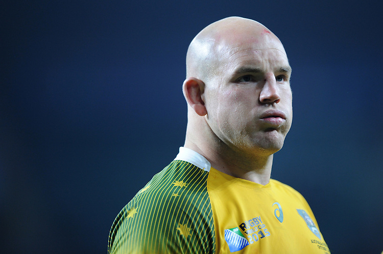 Stephen Moore of Australia shows his relief at qualifying for the Final at the end of the Semi Final of the Rugby World Cup 2015 between Argentina and Australia - 25/10/2015 - Twickenham Stadium, London<br /> Mandatory Credit: Rob Munro/Stewart Communications