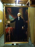 """Reproduction of Gilbert Stuart (1755-1828)<br /> George Washington (Lansdowne Portrait). 1796. Dimensions: 95"""" High x 64"""" Wide Oil on canvas. Place of execution: Germantown."""