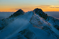 Mt. Humboldt at sunset, with Crestone Needle in back.  Looking west.  Feb 2013.  82626