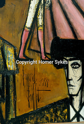 Bernard Buffet French artist expressionist painter (1928-1999) France Circa 1995. Matador painting his signature Kassal Germany 1994.