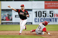 Batavia Muckdogs second baseman Jeremy Patton #12 attempts to turn a double play as Peter Lavin #43 slides in during the second game of a doubleheader against the Williamsport Crosscutters at Dwyer Stadium on August 23, 2011 in Batavia, New York.  Batavia defeated Williamsport 2-1.  (Mike Janes/Four Seam Images)