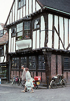 York: Half-timbered building in Little Shambles adjoining (and larger than) Shambles. Note the brick pattern on ground floor. Photo '90.