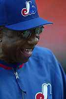 Montreal Expos Manager Frank Robinson during a 2003 season MLB game at Dodger Stadium in Los Angeles, California. (Larry Goren/Four Seam Images)