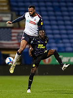 Bolton Wanderers' Reiss Greenidge competing with Newcastle United U21's Yannick Toure (right) <br /> <br /> Photographer Andrew Kearns/CameraSport<br /> <br /> EFL Papa John's Trophy - Northern Section - Group C - Bolton Wanderers v Newcastle United U21 - Tuesday 17th November 2020 - University of Bolton Stadium - Bolton<br />  <br /> World Copyright © 2020 CameraSport. All rights reserved. 43 Linden Ave. Countesthorpe. Leicester. England. LE8 5PG - Tel: +44 (0) 116 277 4147 - admin@camerasport.com - www.camerasport.com
