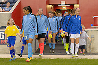 Chicago, IL - Wednesday Sept. 07, 2016: Christen Press, Becky Sauerbrunn, player escorts during a regular season National Women's Soccer League (NWSL) match between the Chicago Red Stars and FC Kansas City at Toyota Park.
