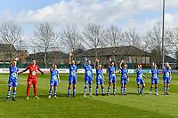 line-up KAA Gent ( Chloe Vande Velde (10) , goalkeeper Nicky Evrard (1) , Rkia Mazrouai (2) , Ella Van Kerkhoven (3) , Heleen Jaques (4) , Emma Van Britsom (6) , Jolet Lommen (9) , Jasmien Mathys (12) , Lyndsey Van Belle (14) , Alixe Bosteels (16) , Feli Delacauw (44) ) pictured before a female soccer game between  AA Gent Ladies and Club Brugge YLA on the 16th matchday of the 2020 - 2021 season of Belgian Scooore Womens Super League , saturday 13 th of March 2020  in Oostakker , Belgium . PHOTO SPORTPIX.BE | SPP | STIJN AUDOOREN