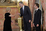 King Felipe VI of Spain (c), receives in the Royal Palace the President of the French Republic Emmanuel Macron (r) in presence of Mayor of the Madrid city Manuela Carmena. July 26,2018. (ALTERPHOTOS/Acero)