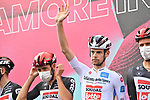 Harm Vanhoucke  (BEL) and Lotto-Soudal wearing the Maglia Bianca at sign on before the start of Stage 5 of the 103rd edition of the Giro d'Italia 2020 running 225km from Mileto to Camigliatello Silano, Sicily, Italy. 7th October 2020.  <br /> Picture: LaPresse/Massimo Paolone | Cyclefile<br /> <br /> All photos usage must carry mandatory copyright credit (© Cyclefile | LaPresse/Massimo Paolone)