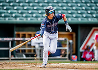 6 June 2021: New Hampshire Fisher Cats first baseman Nick Podkul in action against the Binghamton Rumble Ponies at Northeast Delta Dental Stadium in Manchester, NH. The Rumble Ponies defeated the Fisher Cats 9-6 to close out their 6-game series. Mandatory Credit: Ed Wolfstein Photo *** RAW (NEF) Image File Available ***