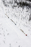 Aerial of Teams Stopped Along Trail to McGrath 2005 Iditarod One Team Resting