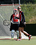 GER - Hannover, Germany, May 30: During the Women Lacrosse Playoffs 2015 match between DHC Hannover (black) and SC Frankfurt 1880 (red) on May 30, 2015 at Deutscher Hockey-Club Hannover e.V. in Hannover, Germany. Final score 23:3. (Photo by Dirk Markgraf / www.265-images.com) *** Local caption *** Celina Aniolek #40 of SC 1880 Frankfurt, Inga Hupka #8 of SC 1880 Frankfurt