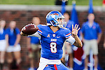 Southern Methodist Mustangs quarterback Ben Hicks (8) in action during the game between the TCU Horned Frogs and the SMU Mustangs at the Gerald J. Ford Stadium in Dallas, Texas.