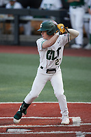 Dominic Pilolli (22) of the Charlotte 49ers at bat against the Old Dominion Monarchs at Hayes Stadium on April 23, 2021 in Charlotte, North Carolina. (Brian Westerholt/Four Seam Images)