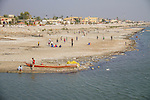 13/12/2015-Chbaish,Iraq- The last two years the water level of the Euphrates is very low. People in Chibaish are using the dry river banks now as a football field.
