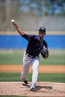 New York Yankees starting pitcher Albert Abreu (14) delivers a pitch during a minor league Spring Training game against the Toronto Blue Jays on March 30, 2017 at the Englebert Complex in Dunedin, Florida.  (Mike Janes/Four Seam Images)