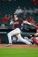 Rowdey Jordan (4) of the Mississippi State Bulldogs follows through on his swing against the Louisiana Ragin' Cajuns in game three of the 2018 Shriners Hospitals for Children College Classic at Minute Maid Park on March 2, 2018 in Houston, Texas.  The Bulldogs defeated the Ragin' Cajuns 3-1.   (Brian Westerholt/Four Seam Images)