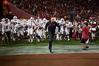 LOS ANGELES, CA - SEPTEMBER 11: Head coach David Shaw and the Stanford Cardinal take the field before a game between University of Southern California and Stanford Football at Los Angeles Memorial Coliseum on September 11, 2021 in Los Angeles, California.