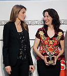 Princess Letizia of Spain attends the 'El Barco de Vapor' literature awards in the presence of a winner the mexican writer Veronica Munguia.April 9, 2013.(ALTERPHOTOS/Acero)