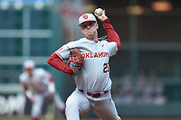 Oklahoma Sooners starting pitcher Levi Prater (25) in action against the Missouri Tigers in game four of the 2020 Shriners Hospitals for Children College Classic at Minute Maid Park on February 29, 2020 in Houston, Texas. The Tigers defeated the Sooners 8-7. (Brian Westerholt/Four Seam Images)