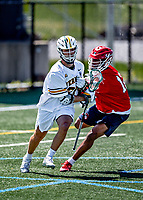 1 May 2021: University of Vermont Catamount Midfielder Griffin Fenech, a Freshman from Okemos, MI, in action against the Stony Brook University Seawolves at Virtue Field in Burlington, Vermont. The Cats edged out the Seawolves 14-13 with less than one second to play in their America East Men's Lacrosse matchup. Mandatory Credit: Ed Wolfstein Photo *** RAW (NEF) Image File Available ***