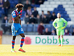 Inverness Caley v St Johnstone…08.04.17     SPFL    Tulloch Stadium<br />Larnell Cole trudges off sfter seeing red<br />Picture by Graeme Hart.<br />Copyright Perthshire Picture Agency<br />Tel: 01738 623350  Mobile: 07990 594431