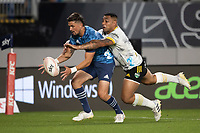 3rd April 2021; Eden Park, Auckland, New Zealand;  Blues 1st-five Otere Black and Hurricanes Ngani Laumape during the Super Rugby Aotearoa rugby match between the Blues and the Hurricanes held at Eden Park, Auckland, New Zealand.