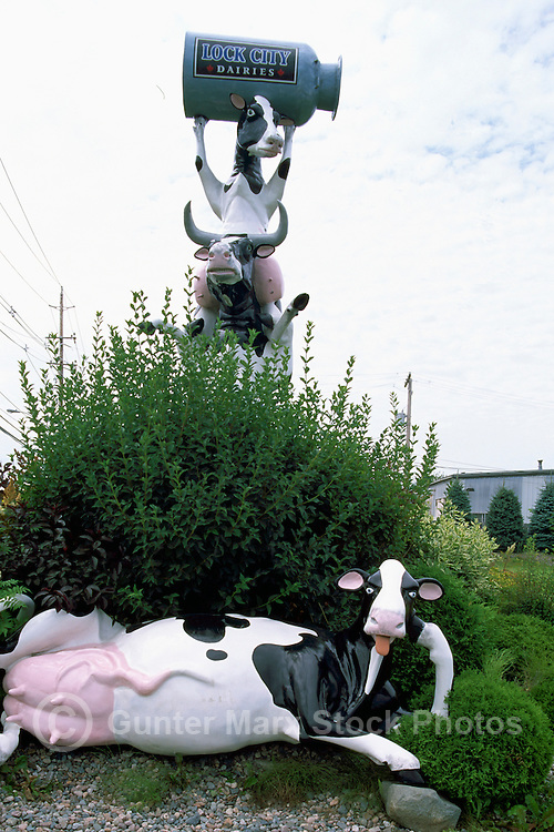 "Cow Sculptures at ""Lock City Dairies"", Sault Ste. Marie, ON, Ontario, Canada"