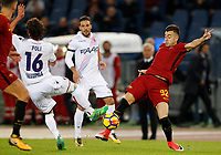 Roma's Stephan El Shaarawy, right, is challenged by Bologna's  Andrea Poli during the Serie A football match between Roma and Bologna at Rome's Olympic stadium, October 28, 2017.<br /> UPDATE IMAGES PRESS/Riccardo De Luca
