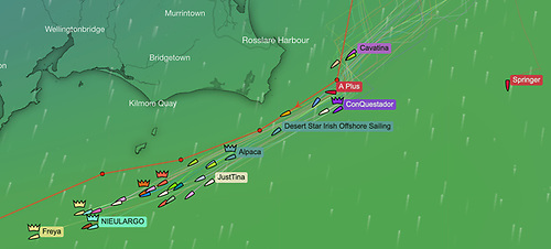 Day 2 of the Dun Laoghaire to Dingle race sees the fleet spread from the Hook to the Tuskar. Now reduced slightly by the retirals of Prima Forte, Suaimhneas and Cambrinus.