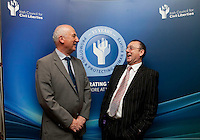 """**** NO FEE PIC***.12/04/2012 .(L to r).Ray McAndrew Chair of the Commission for the Support of Victims of Crime.David McKenna President of Victim Support Europe.during a conference on the """"The EU Directive on Victims Rights: Opportunities and Challenges for Ireland"""" hosted by the the Irish Council for Civil Liberties (ICCL) in Dublin Castle..Photo: Gareth Chaney Collins"""