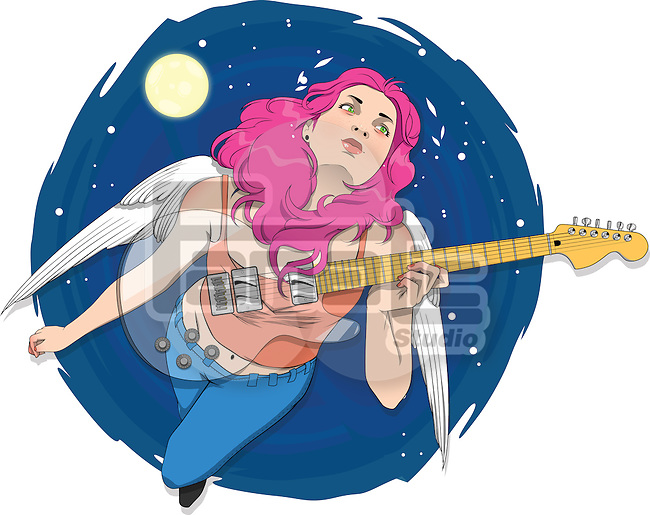 Illustrative image of female rockstar with guitar flying in sky representing desire