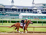 April 28, 2021: Pass the Champagne, trained by trainer George Weaver, exercises in preparation for the Kentucky Oaks at Churchill Downs on April 29, 2021 in Louisville, Kentucky. Scott Serio/Eclipse Sportswire/CSM