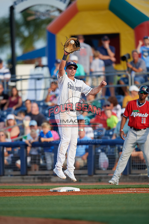 Charlotte Stone Crabs first baseman Russ Olive (34) catches a throw during a Florida State League game against the Fort Myers Miracle on April 6, 2019 at Charlotte Sports Park in Port Charlotte, Florida.  Fort Myers defeated Charlotte 7-4.  (Mike Janes/Four Seam Images)