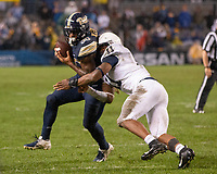 Penn State linebacker Micah Parsons (11) tackles Pitt running back Qadree Ollison. The Penn State Nittany Lions defeated the Pitt Panthers 51-6 on September 08, 2018 at Heinz Field in Pittsburgh, Pennsylvania.