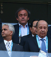 UEFA president Michel Platini watches from the stands