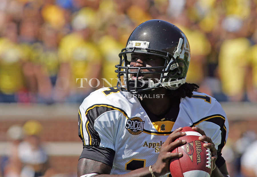 1 September 2007: Appalachian State quarterback Armanti Edwards looks for a pass in the 2007 college football season opener game between the Michigan Wolverines and the Appalachian State Mountaineers at Michigan Stadium in Ann Arbor, MI. No. 5 ranked Michigan was upset 32-34.