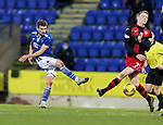 St Johnstone v St Mirren…16.01.21   McDiarmid Park     SPFL<br />Craig Bryson's shot is blocked by Jake Doyle-Hayes<br />Picture by Graeme Hart.<br />Copyright Perthshire Picture Agency<br />Tel: 01738 623350  Mobile: 07990 594431