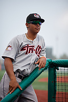 Tri-City ValleyCats Christian Mejias (11) in the dugout while in a fog delay during a NY-Penn League game against the Brooklyn Cyclones on August 17, 2019 at MCU Park in Brooklyn, New York.  Brooklyn defeated Tri-City 2-1.  (Mike Janes/Four Seam Images)