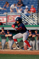 Lowell Spinners Kervin Suarez (2) bunts during a NY-Penn League game against the Batavia Muckdogs on July 10, 2019 at Dwyer Stadium in Batavia, New York.  Batavia defeated Lowell 8-6.  (Mike Janes/Four Seam Images)