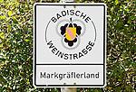 Germany, Baden-Wuerttemberg, Markgraefler Land, sign Baden wine route