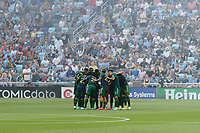 ST PAUL, MN - JULY 24: Portland Timbers huddle before a game between Portland Timbers and Minnesota United FC at Allianz Field on July 24, 2021 in St Paul, Minnesota.