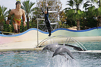 France. Alpes-Maritimes province. Antibes. Marineland. A woman, wearing a wetsuit, is sent in the air by the jump of two dolphins. The aquarium contains millions liters of salt water. A giant statue of a muscle man stands up on the side among the palm trees. Marineland is an animal exhibition park and receives more than a million visitors per year. 03.11.06 © 2006 Didier Ruef