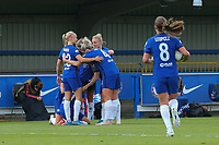2nd May 2021; Kingsmeadow, London, England;  Ji So-Yun and team celebrate their 2nd goal during the UEFA Womens Champions League Semi Final game between Chelsea and Bayern Munich at Kingsmeadow