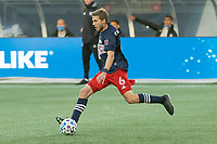 FOXBOROUGH, MA - SEPTEMBER 19: Scott Caldwell #6 of New England Revolution during a game between New York City FC and New England Revolution at Gillette on September 19, 2020 in Foxborough, Massachusetts.